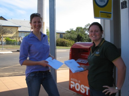Louise and Katie at Post Office